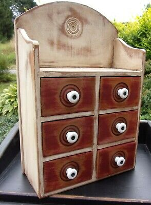 Antique 6 Drawer Wood Spice Cabinet/Box/Cupboard-Apothecary chest White/RED Old
