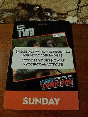 NYCC New York Comic Con 2019 Sunday Pass Badge Ticket - 10/6/2019.