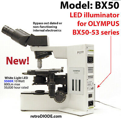 LED retrofit Kit with dimmer control for older OLYMPUS bx50+ microscopes.