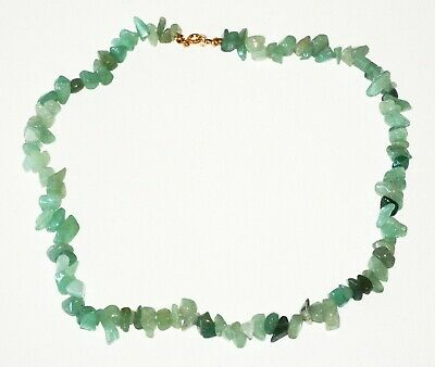 Chinese Green Jadeite Jade Bead Necklace w. Gold Plated Clasp (RgR)