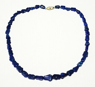 Chinese Blue Lapis Lazuli Bead Necklace w. Gold Plated Clasp (RgR)