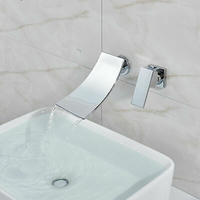 Wall Mount Chrome Waterfall Spout Bathroom Tub Basin Sink Fauce Valve Mixer Tap