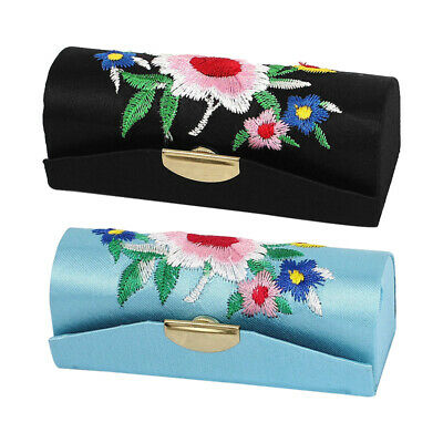 Floral Embroidery Lady Lipstick Lip Chap Stick Makeup Case Box Z8U1