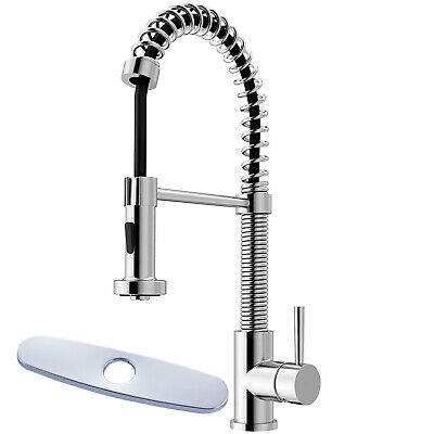 Commercial Kitchen Bar Sink Faucet Pull Down Sprayer Single Handle Cover Plate