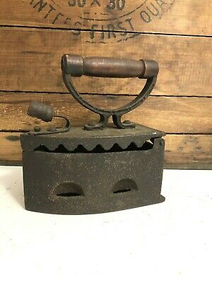 Vintage Cast Iron Coal Heated Clothes Iron  Charcoal With Wooden Handles Antique