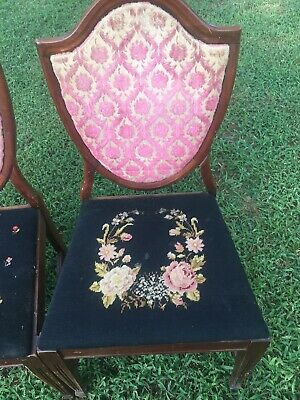 5 Antique Needlepoint Dining Chairs Vintage Victorian Farmhouse Floral Wood