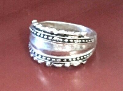Vintage 925 sterling silver ornate wide front band ring size 9, 5.6g FREE SHIP