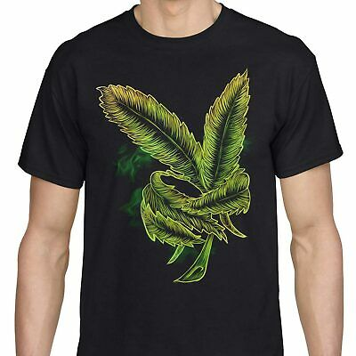 Weed Leaf T Shirt Ganja Cannabis Marijuana Pot 420 Stoner Men Black Tee Novelty