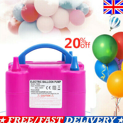 600W Electric Balloon Pump Inflator Air Blower Two Nozzle Party Portable EU PLUG