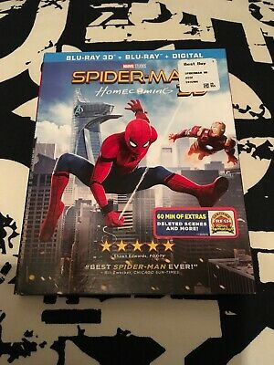 Spider-Man: Homecoming 3D Blu-ray 3D + Blu-ray + Digital Slipcover Marvel Nice!