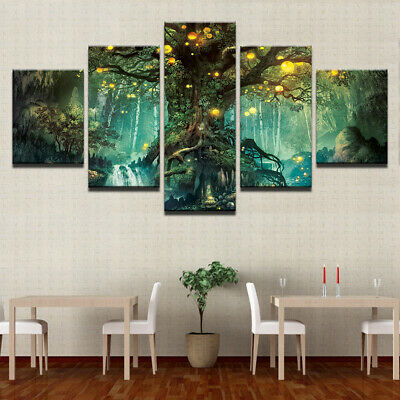 5pcs Fantasy Big Tree Art Canvas Painting Picture Print Home Wall Decor Unframed