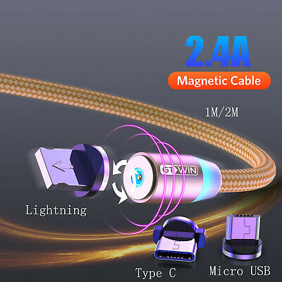 GTWIN Magnetic Cable 3 IN 1 Type C/Micro USB fast charger for Android Samsung LG