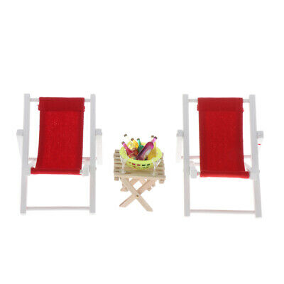 4pcs 1:6 Dollhouse Red Beach Chair Table with Snacks Set Life Scene Decor