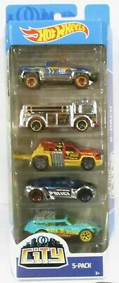 2019 Hot Wheels 5 Pack City Off Duty, Fire Eater, Repo Duty, Symbolic