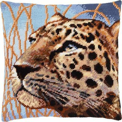 """Needlepoint/Tapestry Pillow Cover DIY Kit """"Leopard"""""""