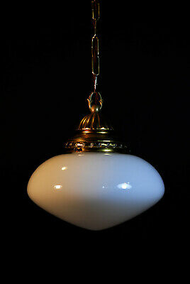 original 50s art deco hoolhouse Opaline space age flying saucer ceiling pendant