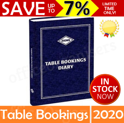 NEW 2020 Zions Table Bookings Diary A4 Lunch Dinner Cafe 2 Pages Per Day TBD