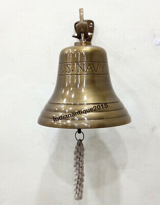 Nautical Antique Brass Ship Bell U.S. Navy Wall Mounted Home Decor Door Bell