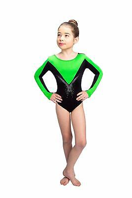 BNWT Siegertreppchen Girl's Leotard in Black/Green - 11-12 Years