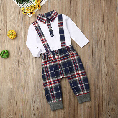 1st Christmas Newborn Baby Boy  Long Sleeve Shirt + Plaid Strap Trousers Clothes