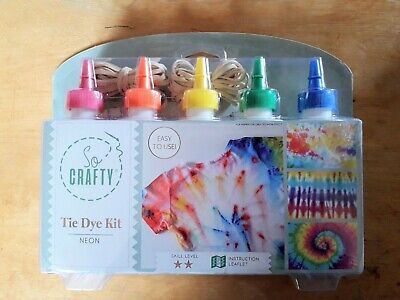 TIE DYE KIT 5 x DYES WITH REFILLS NEON/BRIGHTS COLOURS
