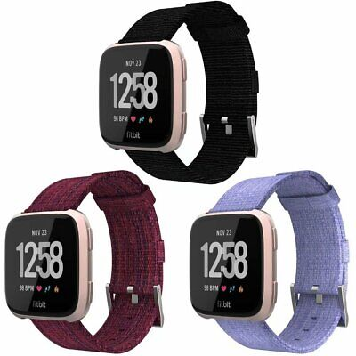 3 PACK Woven Nylon Canvas Replacement Sport Watch Strap Bands For Fitbit Versa