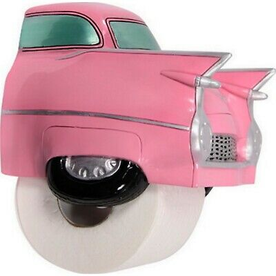 Pink Cadillac Toilet Roll Holder Bathroom Retro Car Wall Mount Paper Dispenser