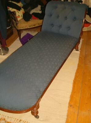 Antique Victorian Mahogany Chaise Longue/Day Bed - Resprung