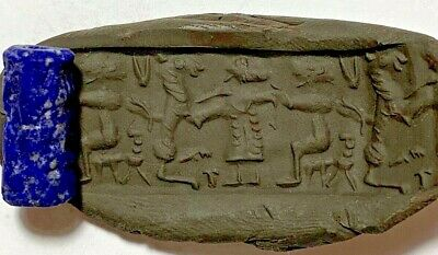 Sassanian lapis cylinder seal amazing intaglio (animal with soldier) 5.8gr 24mm
