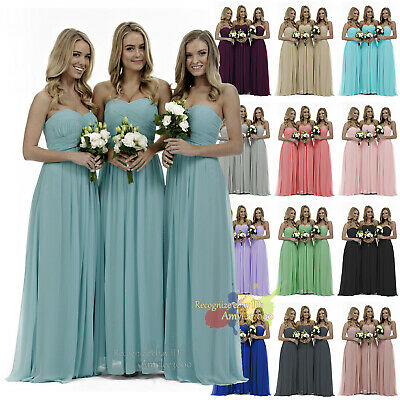 New Long Chiffon Ruching Evening Party Ball Gown Formal Prom Bridesmaid Dresses
