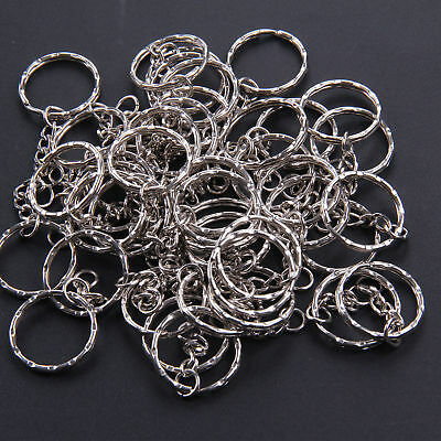 100X Keyring Blanks Key Chains Silver Tone Findings Split Rings 4 Link