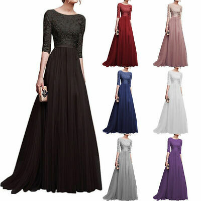 UK Womens Chiffon Lace Formal Wedding Bridesmaid Evening Party Maxi Prom Dress