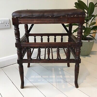 Antique Late Victorian Galleried Wooden Music Piano Stool, Canterbury Style