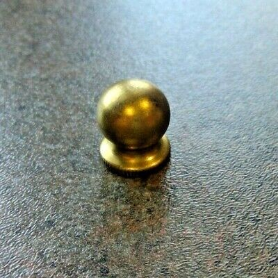 "Solid Brass Small Ball Knob Lamp Finial Top 1/2"" Tall Tap 1/4-27"