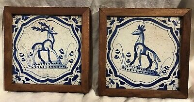 Pair Of Framed 17Th Century Blue And White Delft Tiles Stag In Cartouche Decorat