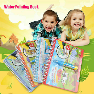 Kids Magic Doodle Water Drawing Book Pen Coloring Book Painting Board Toy