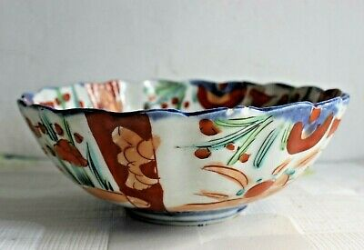 C 1880 Antique Century Japanese Arita Bowl , imari colours, Fluted