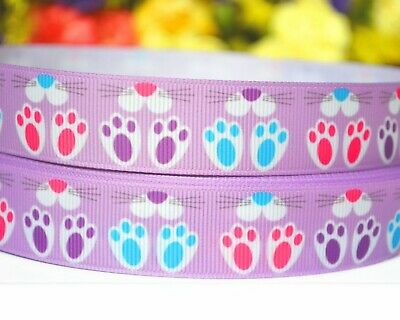 Grosgrain Ribbon Bunny Footprint Gift Wrapping Baby Shower Christening Easter