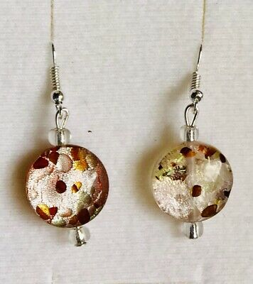Stunning Silver-lined Pink Murano Glass Drop Earrings