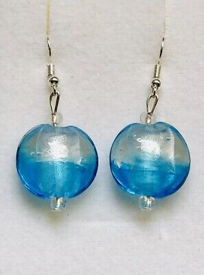 Stunning  Silver lined Turquoise Murano  Glass Drop Earrings