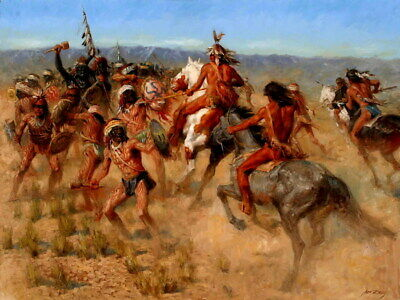 Native American Tribes Battle Warriors Indians Print POSTER FR