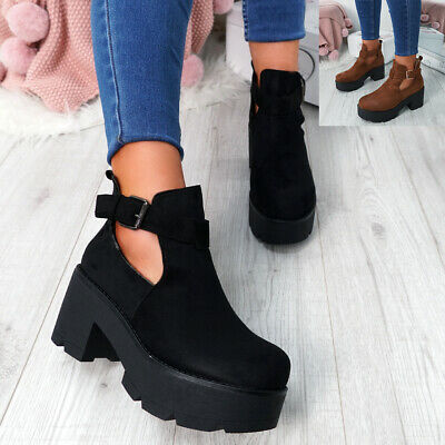 Womens Ladies Cut Out Ankle Boots Chunky Platform Block Heel Combat Shoes Size