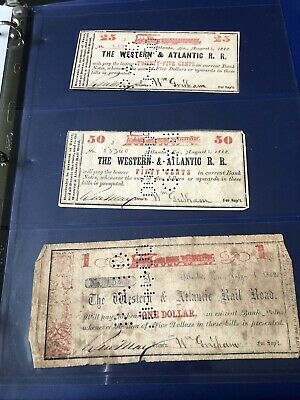 Year 1862 CIRCULATED WESTERN & ATLANTIC RAILROAD NOTE SET-ANTIQUE
