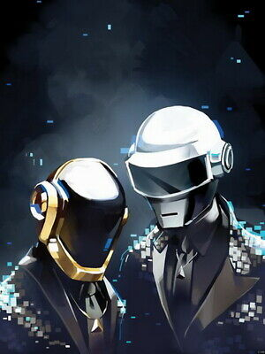 Daft Punk Duo Outer space robots Helmets Wall Print POSTER AU