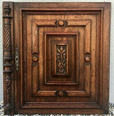 Big antique french furniture door early 1900's oak wood carved henri II lock