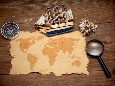 Old World Map Sailboat Compass Wall Print POSTER AU