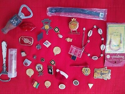 VINTAGE JUNK DRAWER LOT PINS, Rocks, Charms, Bottle openers & MORE