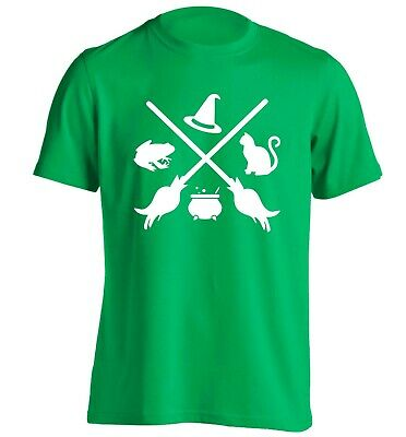 Witch symbol, t-shirt Halloween broomstick spell cauldron fly black cat hat 5326