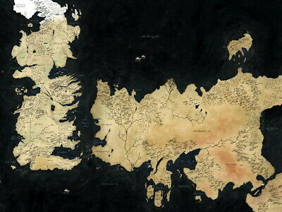 Game Of Thrones World Map Art Wall Print POSTER AU