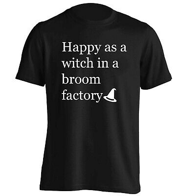 Happy as a witch, t-shirt Halloween trick or treat broomstick spell fly  5325